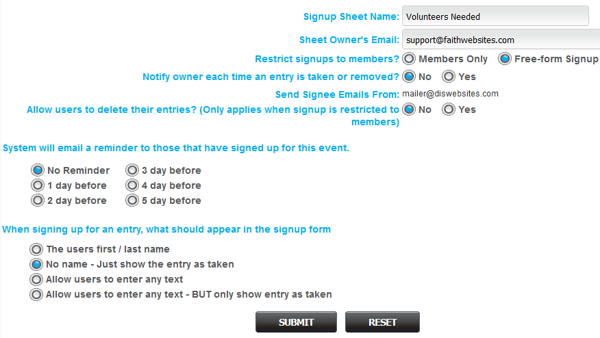 Signup Sheets Tool – Dynamic Internet Solutions